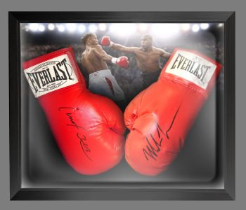 Lennox Lewis And Mike Tyson Signed Boxing Gloves In A Dome Frame Presentation : B