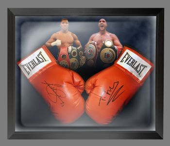 Anthony Joshua And Tyson Fury Signed Boxing Gloves In A Dome Frame : A