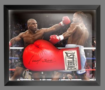 Lennox Lewis Signed Boxing Glove In A Dome Frame Presentation : B