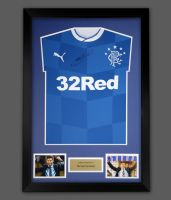 Steven Gerrard Hand Signed Rangers  Football Shirt In A Frame Presentation