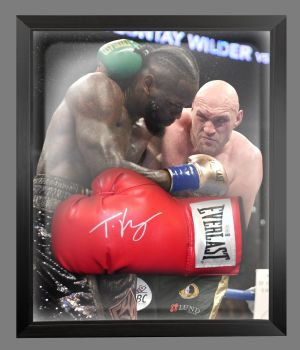 Tyson Fury Signed Red Everlast Boxing Glove Presented In A Dome Frame.