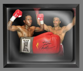 Nigel Benn And Michael Watson Dual Signed Boxing Glove In A Dome Frame: B