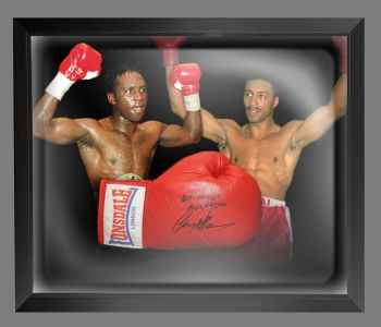 Nigel Benn And Michael Watson Dual Signed Boxing Glove In A Dome Frame: A