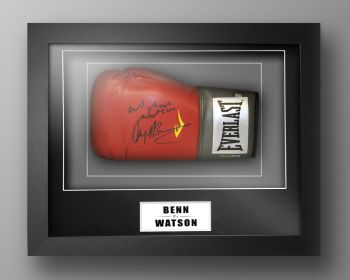 Nigel Benn And Michael Watson Dual Signed Boxing Glove In Our Elegance Box Frame