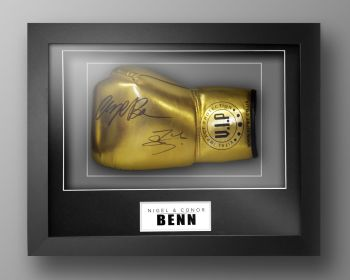 Nigel Benn And Conor Benn Signed Gold VIP Boxing Glove In Our Elegance Box Frame