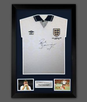 Paul Gazza Gascoigne Signed England Football Shirt In A framed Presentation