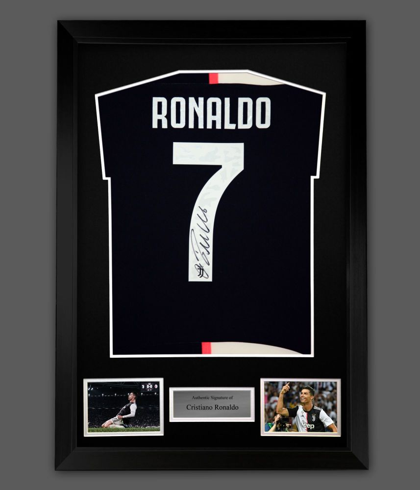 Cristiano Ronaldo Hand Signed White Juventus Fc Football Shirt In A Frame P