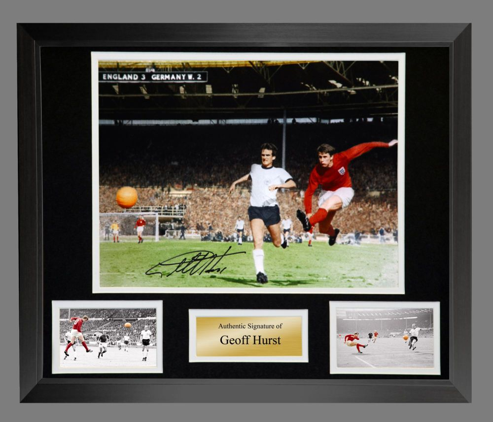 Geoff Hurst England 1966 4th Goal Colourised Large Photograph In A Frame Pr