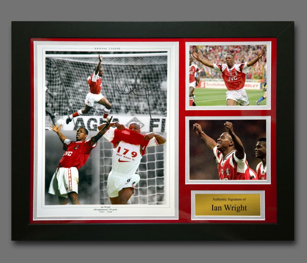 Ian Wright Arsenal Signed Football Montage In A Framed Presentation