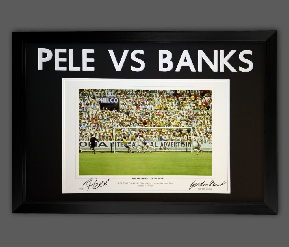 Pele And Gordon Banks Dual Signed Photograph  In A Frame :  A