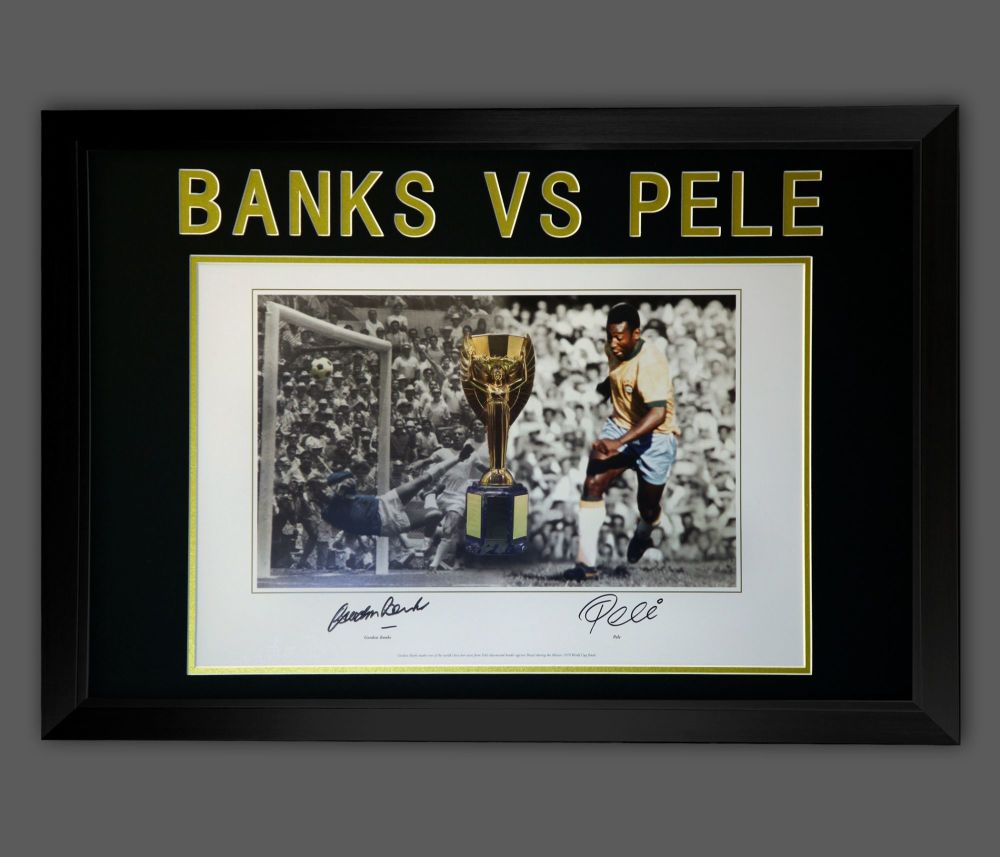 Gordon Banks  Vs Pele Dual Signed Photograph  In A Frame