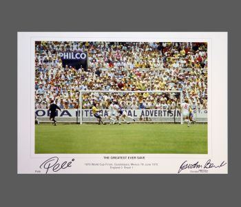 Pele And Gordon Banks Dual Signed 20x13 Photograph