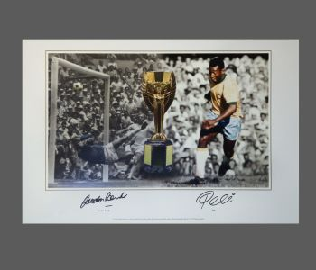 Gordon Banks Vs Pele Dual Signed 20x13 Photograph