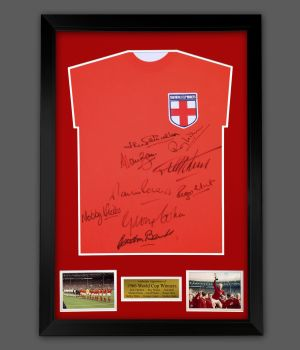 England 66 Signed Replica Football Shirt In A Framed Presentation. Signed By 9 Players