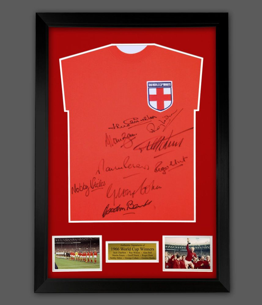England 66 Signed Replica Football Shirt In A Framed Presentation. Signed B
