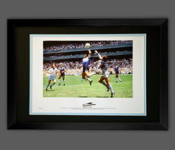 Diego Maradona Signed Argentina Football Photograph in A Frame Presentation
