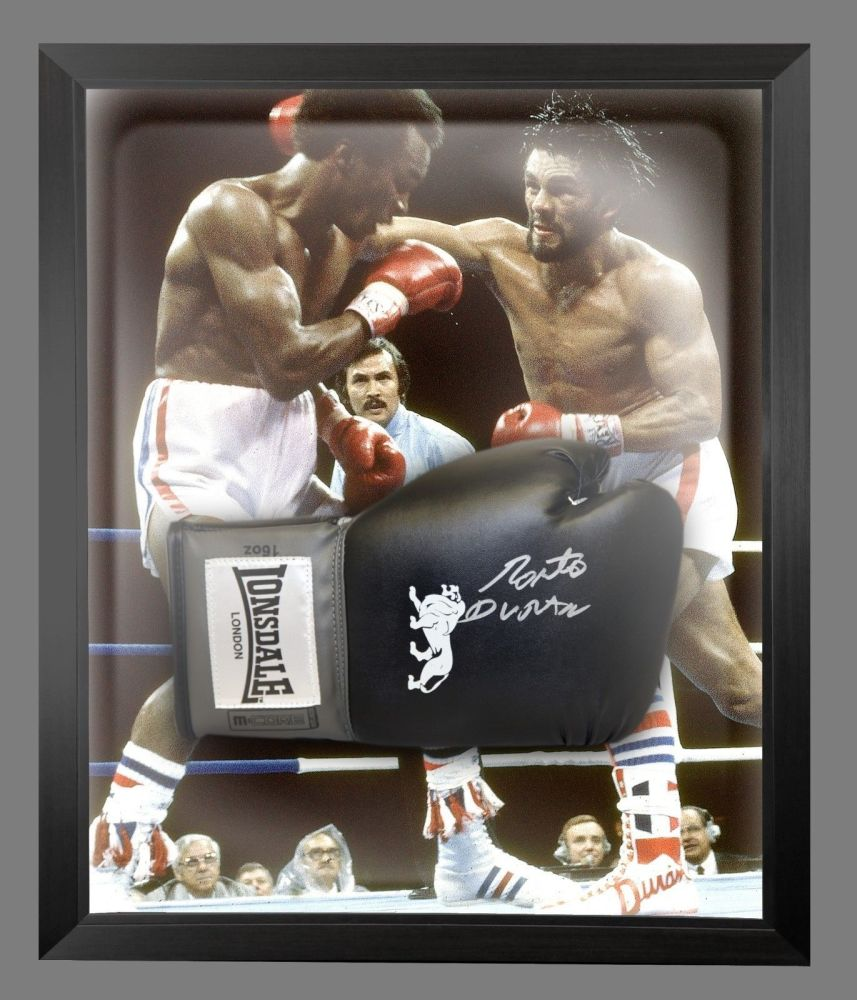 Roberto Duran Signed Black Boxing Glove Presented In A Dome Frame