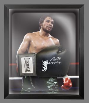 Roberto Duran Signed Black Boxing Glove Presented In A Dome Frame : A