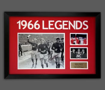Geoff Hurst And Martin Peters  Dual Signed A2 England Photograph In A Framed Presentation : A