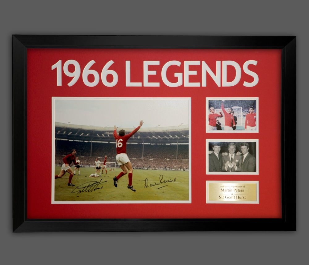 Geoff Hurst And Martin Peters  Dual Signed A2 England Photograph In A Frame