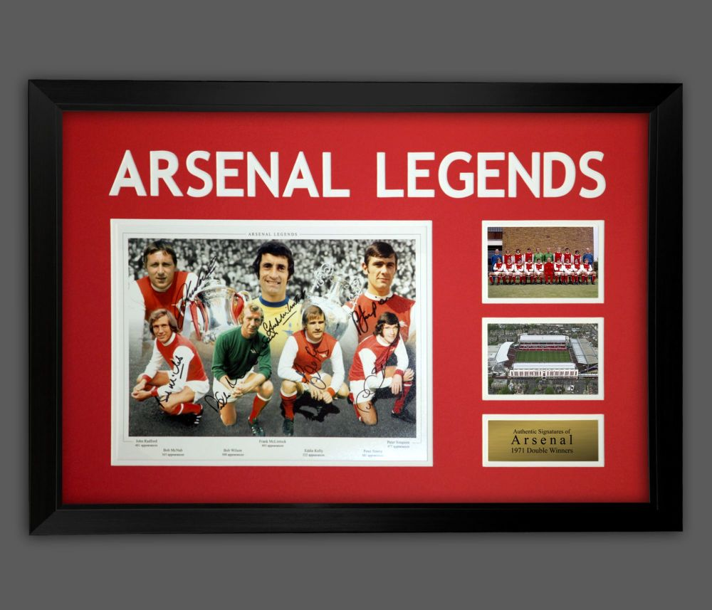 Arsenal Fc 1971 Double Winners Photograph Signed By  7 In A Framed Presenta