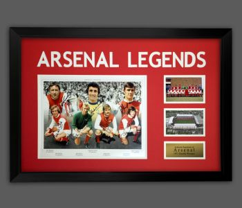 Arsenal Fc 1971 Double Winners Photograph Signed By  7 In A Framed Presentation.