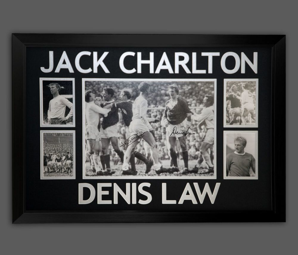Denis Law And Jack Charlton Duel Signed 12x16 Football Photograph in a fram