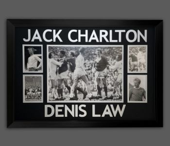 Denis Law And Jack Charlton Duel Signed 12x16 Football Photograph in a frame