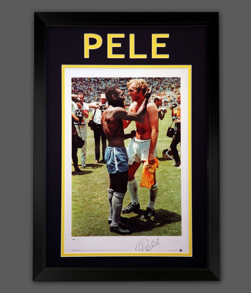 Pele Signed  A2 Photograph With Bobby Moore In A Framed Presentation