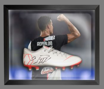Cristiano Ronaldo Juventus Hand Signed Football Boot in an Acrylic Dome : A