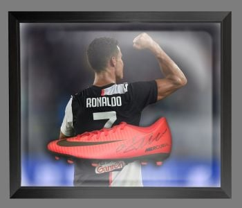 Cristiano Ronaldo Juventus Hand Signed Football Boot in an Acrylic Dome : B
