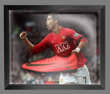 Cristiano Ronaldo Manchester United Hand Signed Football Boot in an Acrylic Dome : B