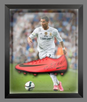 Cristiano Ronaldo Real Madrid Hand Signed Football Boot in an Acrylic Dome : A