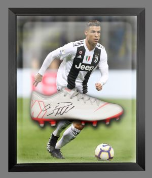 Cristiano Ronaldo Juventus Hand Signed Football Boot in an Acrylic Dome : E