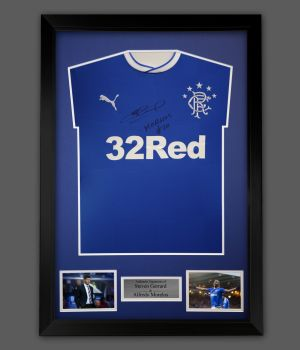 Steve Gerrard And Alfredo Morelos Dual Signed Rangers Football Shirt In A Frame