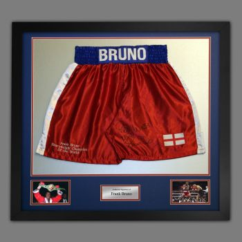 Frank Bruno Hand Signed And Framed Custom Made Boxing Trunks