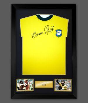 Edson Pele Signed Brazil Replica Football Shirt In A Frame.