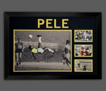 Pele Signed Overhead Kick  A2 Photograph In A Framed Presentation ....