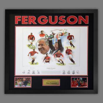 Alex Ferguson Hand Signed Manchester United Artwork Print In A Frame...