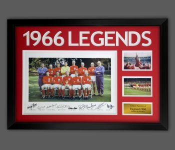 England 1966 Team A2 Photograph Signed by 9 Players In A frame Presentation....