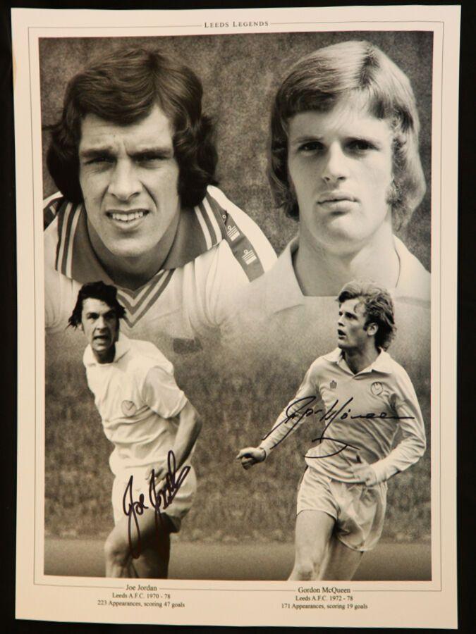 Joe Jordan And Gordon McQueen Duel Signed Leeds United 12x16 Photograph
