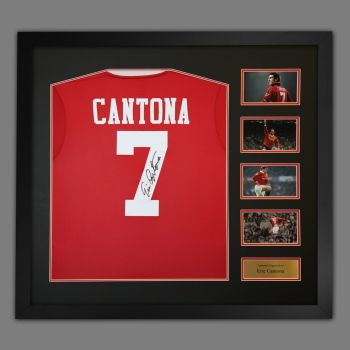 Eric Cantona Manchester United Signed Football Shirt In A Large Framed Presentation