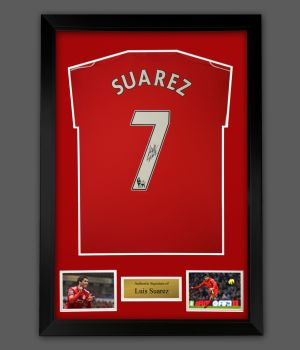 Luis Suarez Hand Signed Liverpool Fc Shirt In A Frame Presentation.