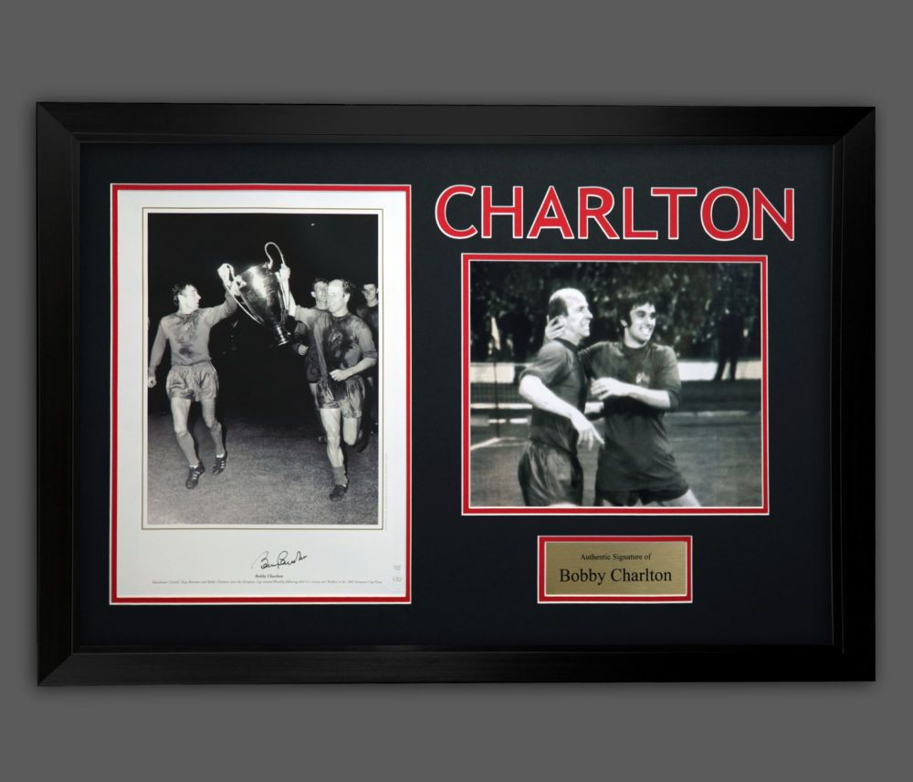 Bobby Charlton Hand Signed Manchester United Football Photograph in A Frame