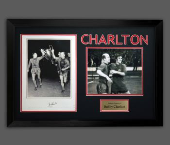 Bobby Charlton Hand Signed Manchester United Football Photograph in A Frame : B