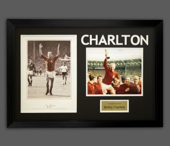 Bobby Charlton Hand Signed England 1966 Football Photograph in A Frame