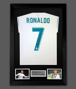 Cristiano Ronaldo Hand Signed Real Madrid Football Shirt In A Frame Presentation