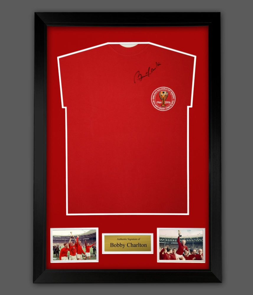 Bobby Charlton Hand Signed England 1966 Football Shirt In A Framed Presenta