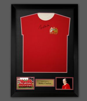 Bobby Charlton Hand Signed Manchester United Football Shirt In A Framed Presentation,,