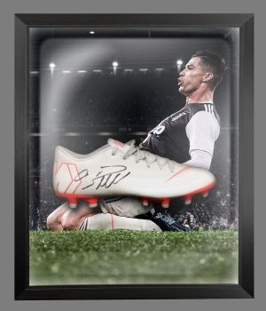 Cristiano Ronaldo Juventus Hand Signed Football Boot in an Acrylic Dome ;